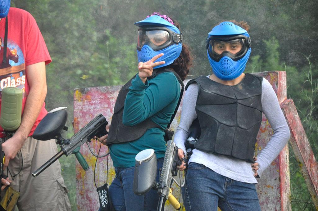 Girls playing paintball at Urban War Zone
